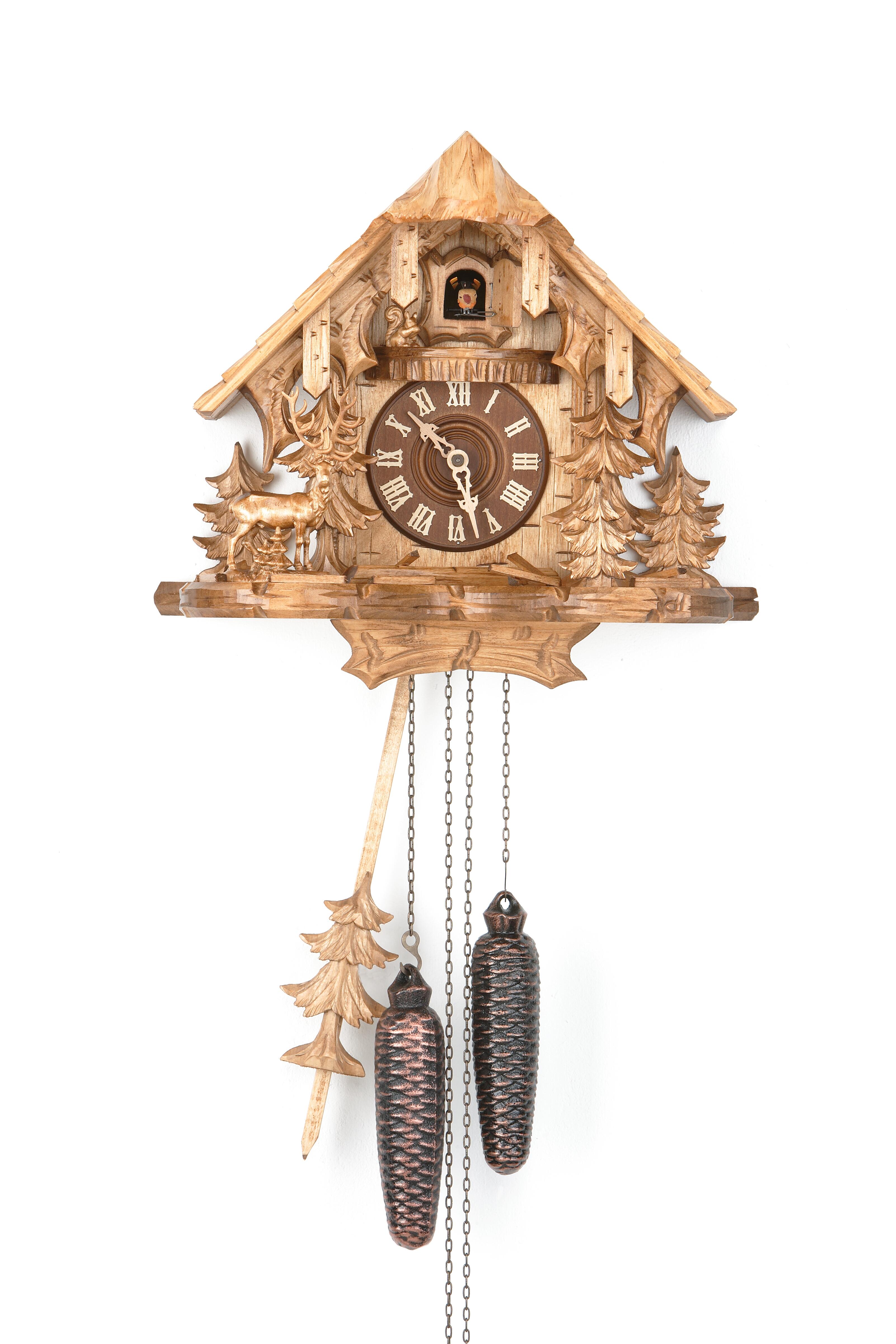 8 Tage Kuckucksuhr Schwarzwaldhaus mit Hirsch und Eichhörnchen