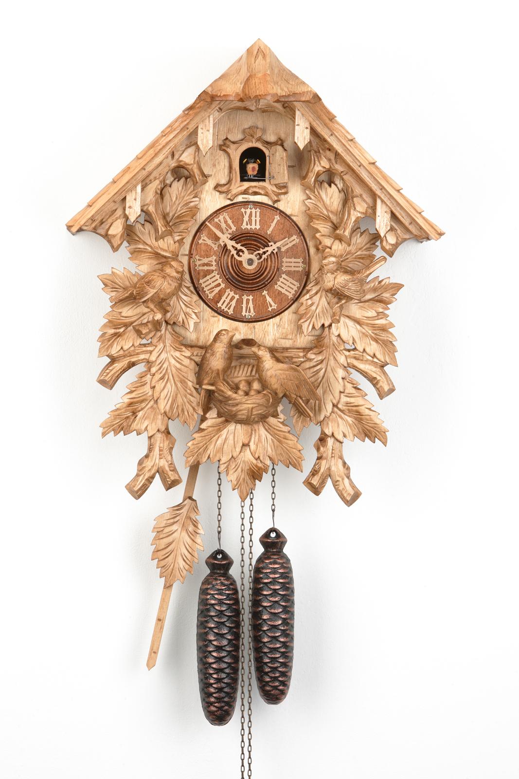 8 Tage Kuckucksuhr Schwarzwaldhaus mit Vogelfamilie
