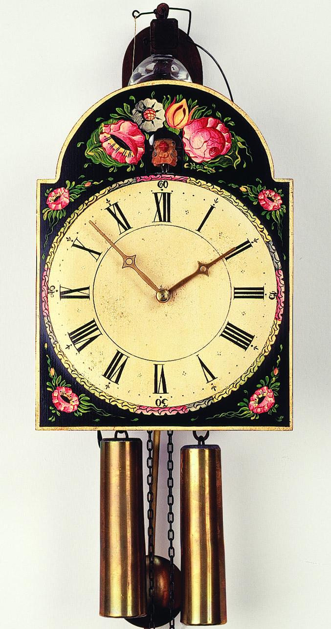 """8 Tage Schilder-Kuckucksuhr mit Uhrenschlag auf Glasglocke und außen liegenden Pfeifen """"Blumenmotiv"""" -handbemalt-"""