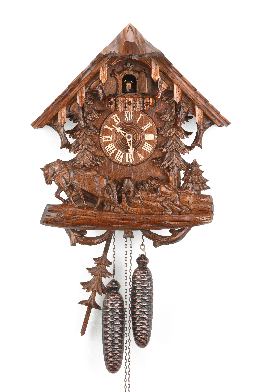 8 Tage Kuckucksuhr Schwarzwaldhaus mit Holzschleifer